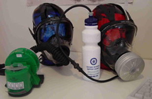 CBR gas mask – optional air-blower and drinking facility
